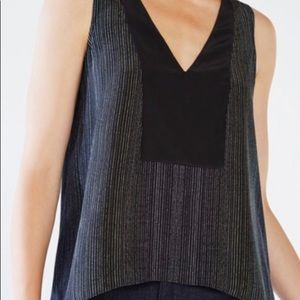 BCBGMAXAZRIA 100% Silk black thin fluid tank